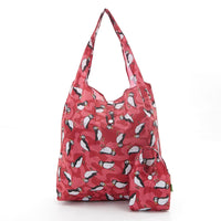 Puffin Print Foldaway Shopper Holds 15kg max ECO CHIC Shopping Bag Red