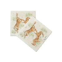 BOXING HARES MARBLE COASTER SET OF 2 BY KATE OF KENSINGTON