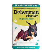 "Wags & Whiskers  Dog Sign/Plaque ""Doberman Pinscher"" - Tin Plaque"