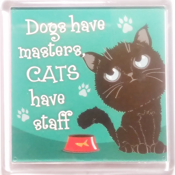 "Wags & Whiskers Cat Magnet ""Black Wags & Whiskers Cat (master)"" by Paper Island"