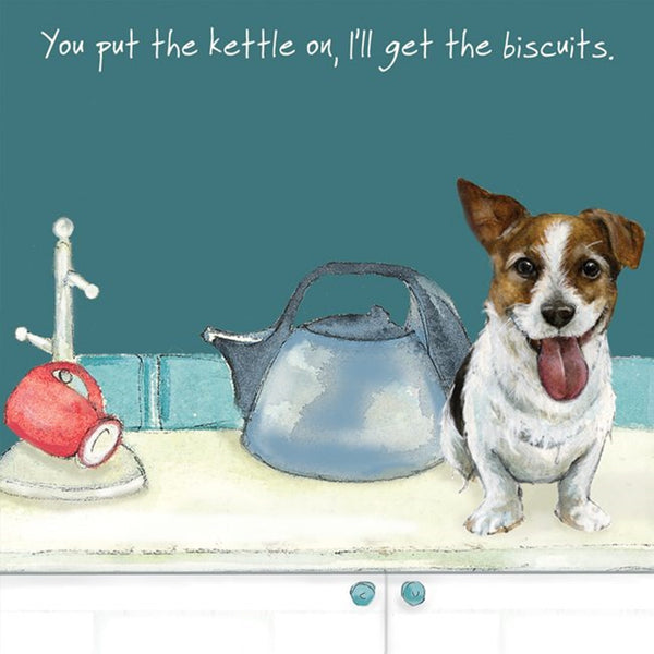 Jack Russell Greeting Card – Kettle on.