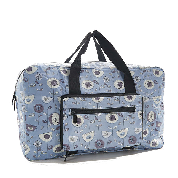 Eco Chic foldaway Holdall with 1950's Flower design Grey