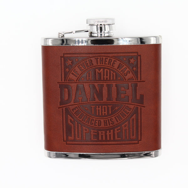 "Top Bloke Mens Gift Hip Flask for Him -  Treat for ""Daniel"""