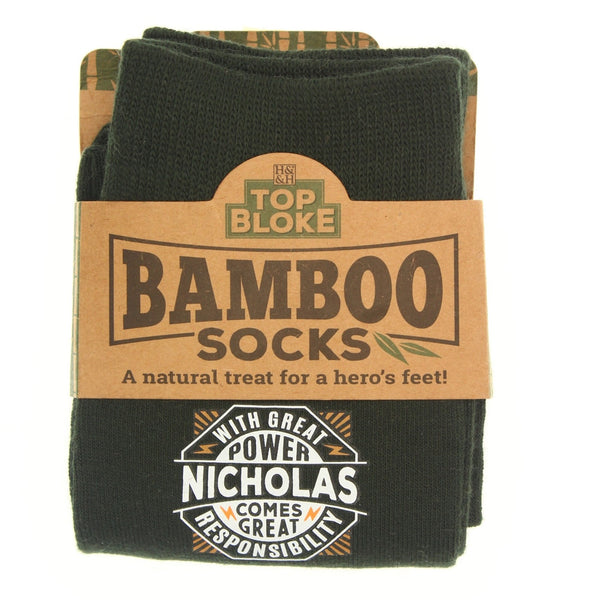 "Top Bloke Mens Gift Socks for Him - A Natural Bamboo Treat for ""Nicholas"""