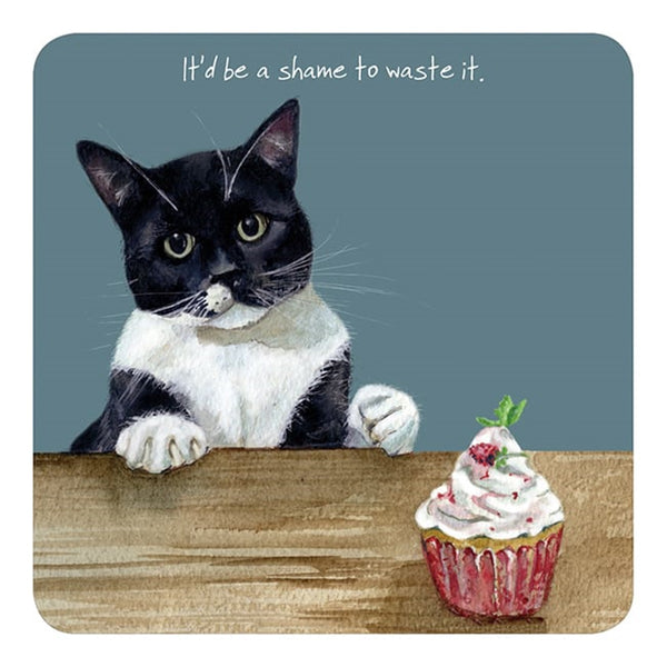Black and White Cat Coaster- Cupcake