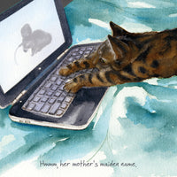 Tabby Cat Greeting Card – Hacker Cat