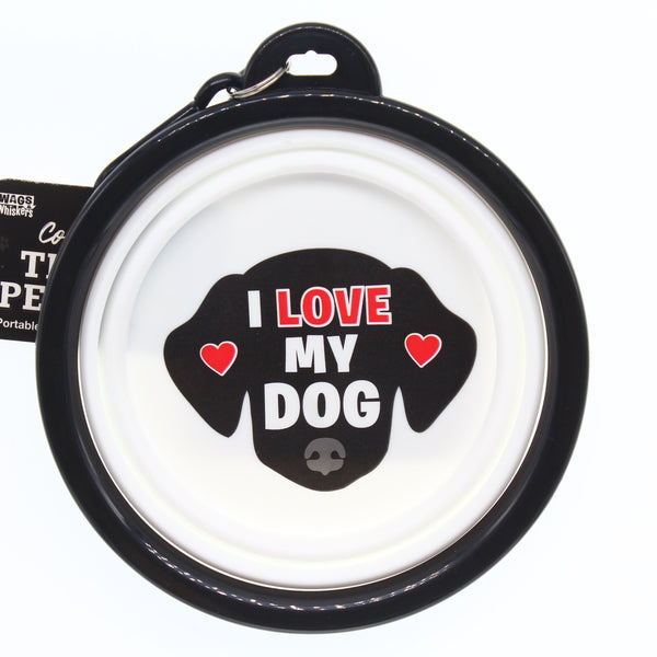I LOVE MY DOG COLLAPSIBLE TRAVEL DOG BOWL GIFT