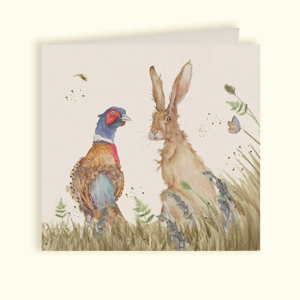 Country Companions Pheasant & Hare Greeting Card