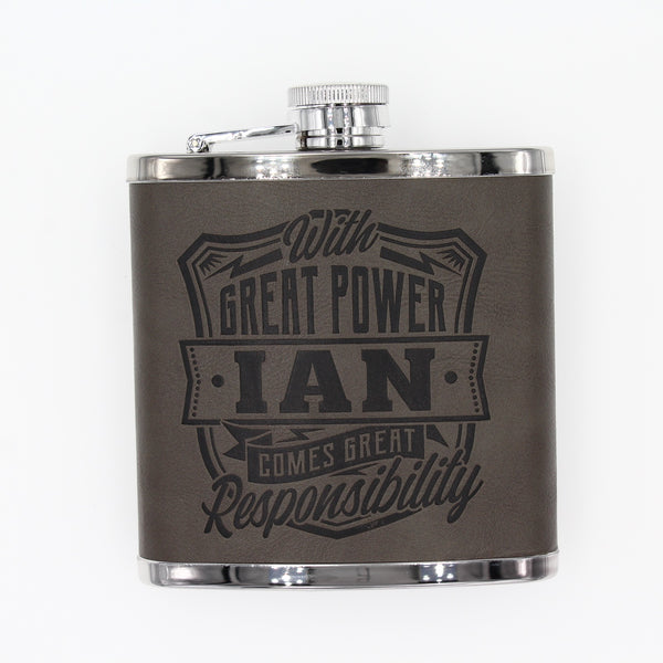 "Top Bloke Mens Gift Hip Flask for Him -  Treat for ""Ian"""