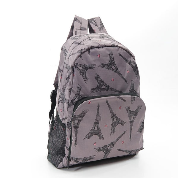 Eco-Chic Grey Eiffel Tower Print Backpack