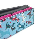 Travel Document Wallet by Eco Chic Waterproof & Durable Fabric Floral Scotty Dog Design - Blue