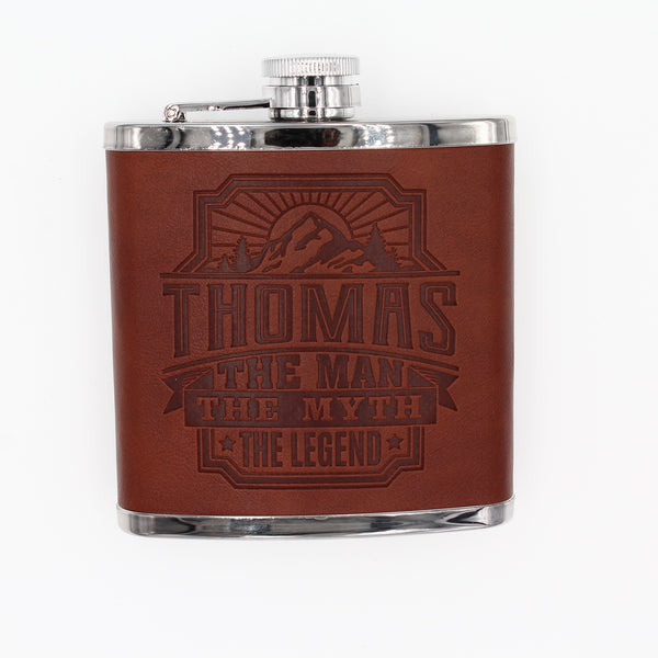 "Top Bloke Mens Gift Hip Flask for Him -  Treat for ""Thomas"""