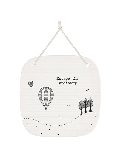 East of India Square porcelain picture saying:- Escape the ordinary Size :- 9.5 x 9.5 cm