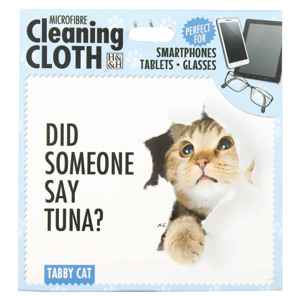 "Microfibre Cleaning Cloth with Tabby Cat print and saying ""Did someone say tuna"""