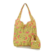 Eco Chic Yellow Flamingo Foldable Shopper