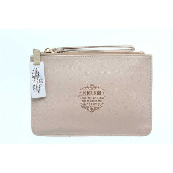 "Clutch Bag With Handle & Embossed Text ""Helen"""