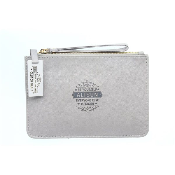 "Clutch Bag With Handle & Embossed Text ""Alison"""