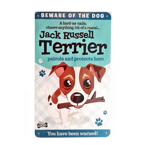 "Wags & Whiskers  Dog Sign/Plaque ""Jack Russell Terrier"" - Tin Plaque"