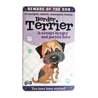 "Wags & Whiskers  Dog Sign/Plaque ""Border Terrier"" - Tin Plaque"