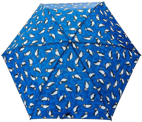 Blue Puffin Print Mini Umbrella by Eco Chic