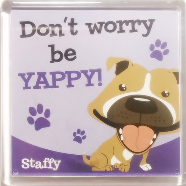 "Wags & Whiskers Dog Magnet ""Staffy (Brown)"" by Paper Island"