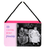 Hang Ups Dressing Gown Ladies - Rolled Tin Plaque with Coloured Cord