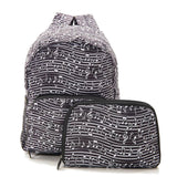 New 2020 Eco Chic 100% Recycled Foldabe Music Notes Print Mini Backpack