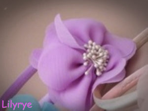 Chiffon fabric floppy flower on a narrow satin aliceband. headband