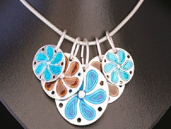 Multi Coloured, Disc Flower pendant necklace.