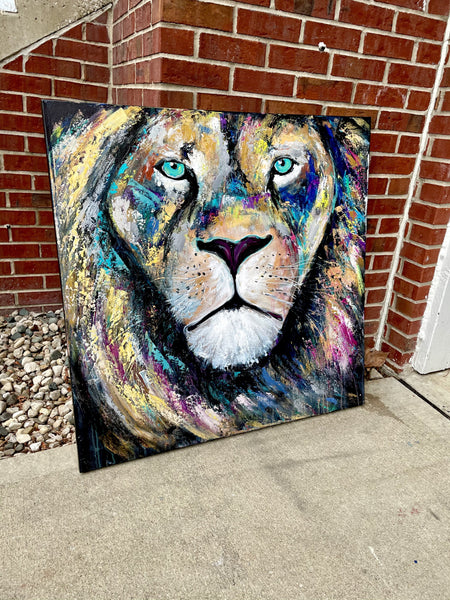 36x36 Abstract Lion Painting