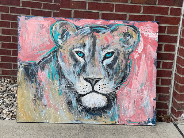30x40 inch Abstract Lioness Painting