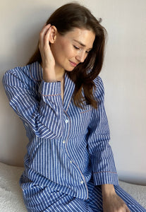Women's Stripe 100% Linen Pyjamas