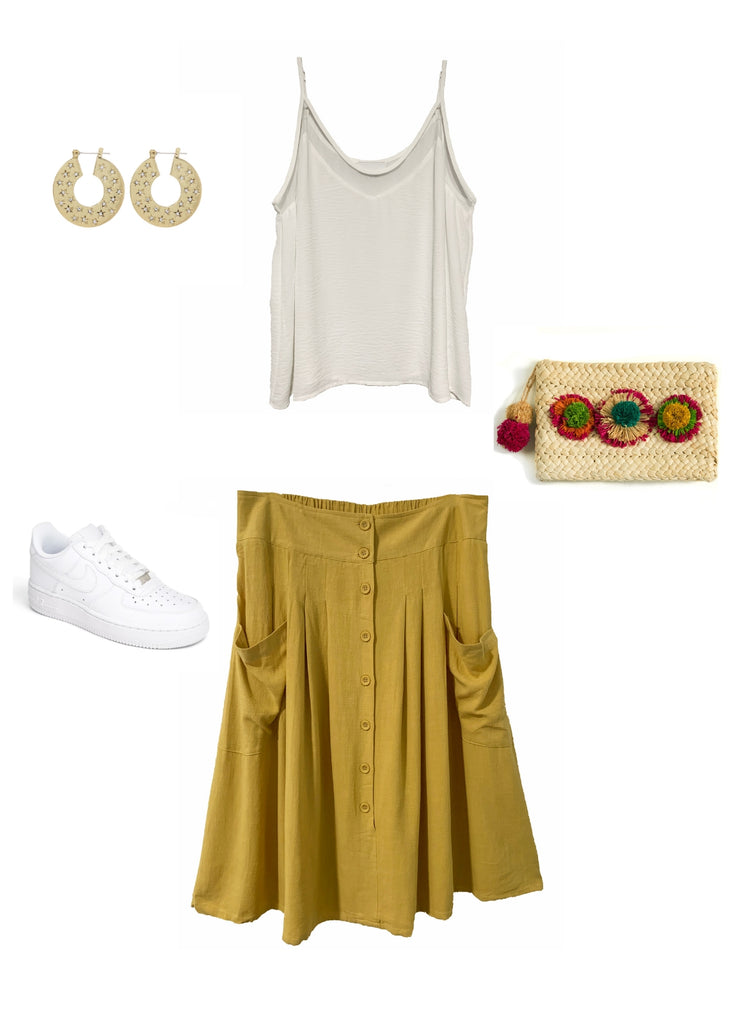 Outfit Flay Lay Bailey cami with Claire skirt