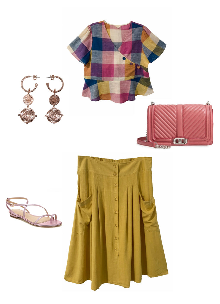 Outfit Flay lay with Gaia top, Claire skirt, Evil eye earrings and pink bag