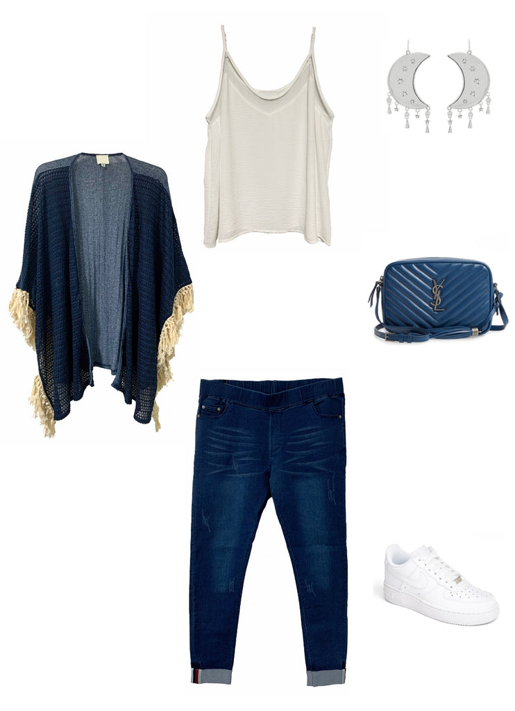 Outfit flat lay with Bailey cami, Harper kimono and Stella Jeans