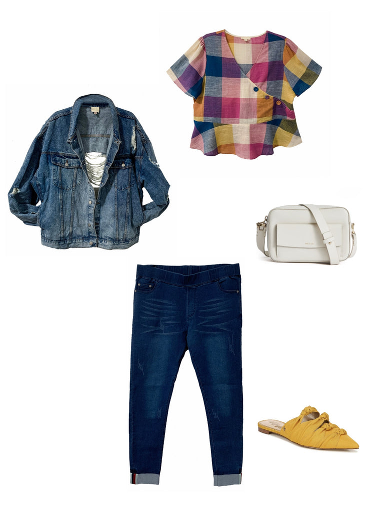 Outfit Flay Lay with Jesse denim jacket, Gaia top and Stella jeans
