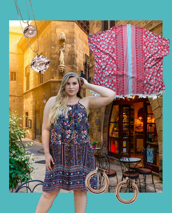 Vacation layout with Willow dress, Evil eye necklace, Lily kimono and Baby Amalfi earrings