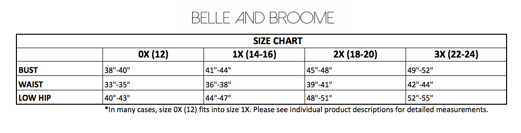 belle and broome size chart