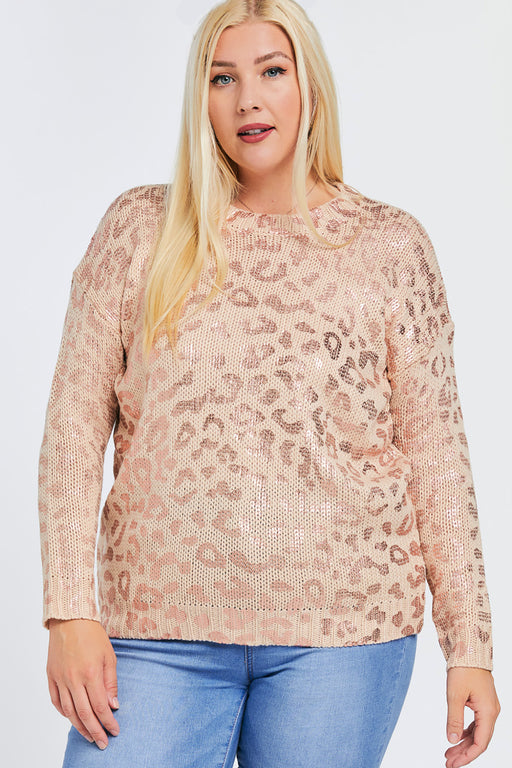 Chloe Leopard Foil Print Sweater in Pink- Front view on Model- Belle and Broome