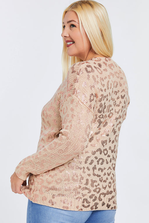 Chloe Leopard Foil Print Sweater in Pink- Side view on Model- Belle and Broome