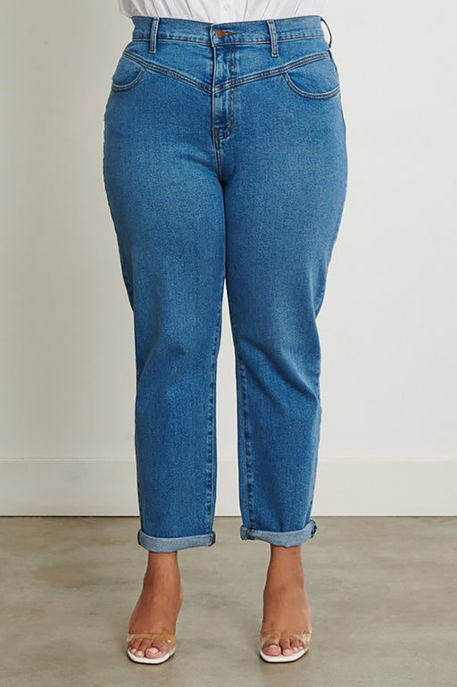 Edie Plus-Size Mom Jeans front view Belle and Broome