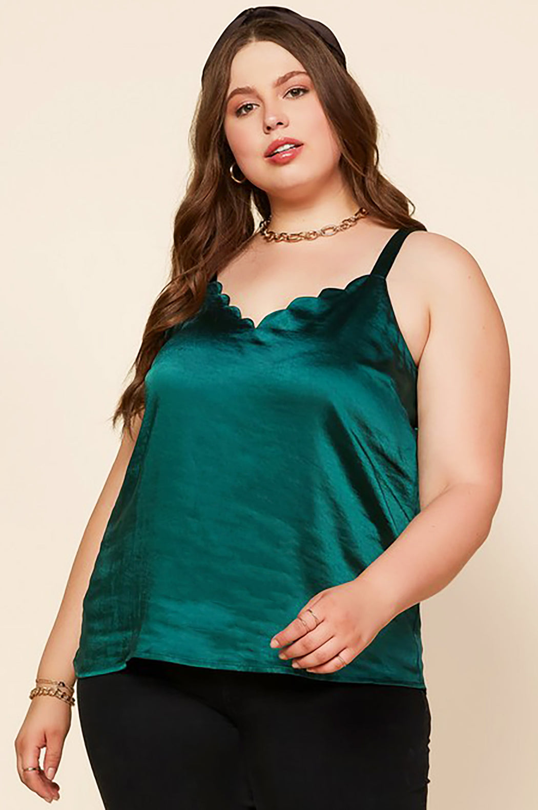 Belle and Broome Joy satin scalloped cami in emerald green on model front view