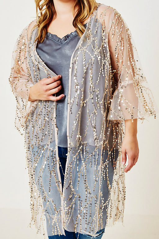 Belle and Broome Sparkle sequin kimono duster over cami front view on model