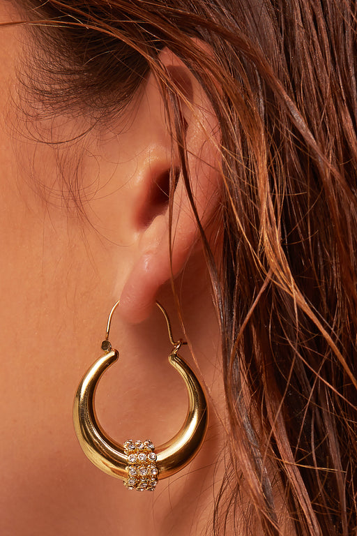 Luv AJ Pave Tube Hoop Earrings-earring, jewelry, earrings-Belle and Broome