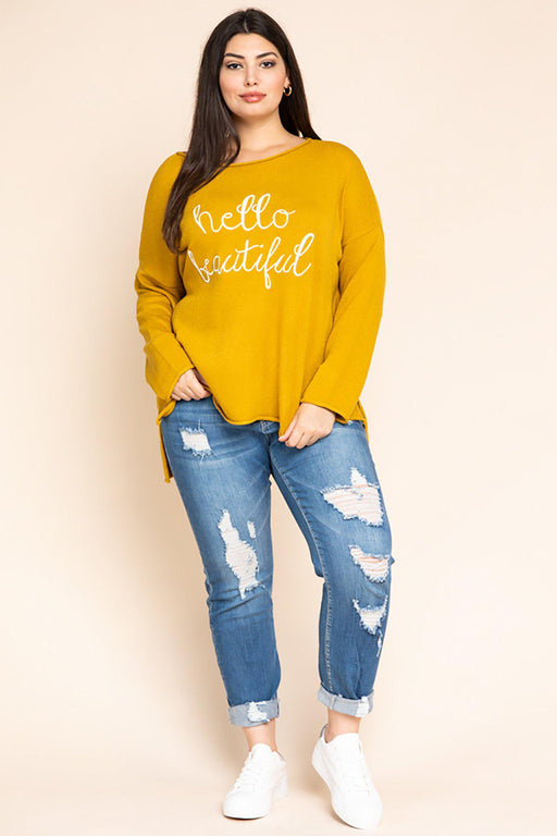 Bonnie 'Hello Beautiful' Embroidered Sweater-tops, clothing-Belle and Broome
