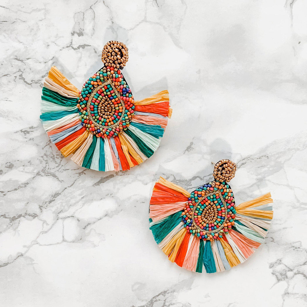 Cartagena Beaded Rainbow Fringe Earrings-earring, jewelry, earrings-Belle and Broome