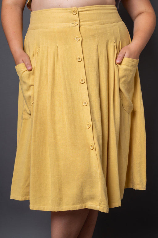 Claire Yellow Button-Front Midi Skirt- Front view on model