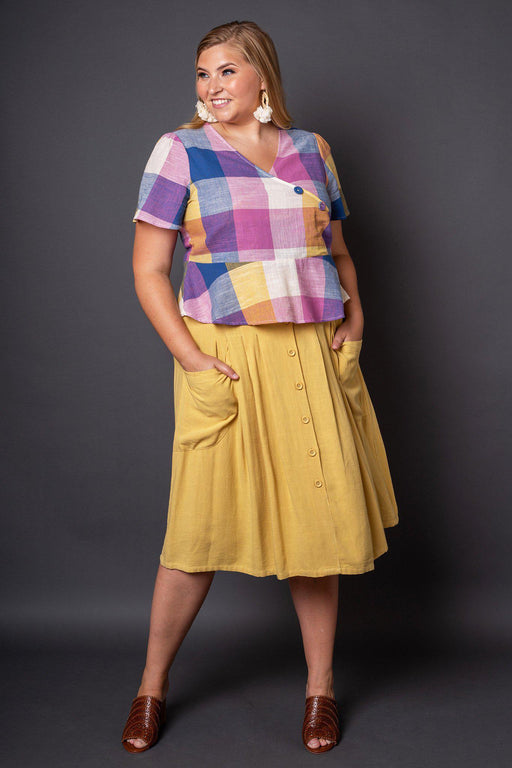 Claire Yellow Button-Front Midi Skirt- Full outfit view on model with blonde hair