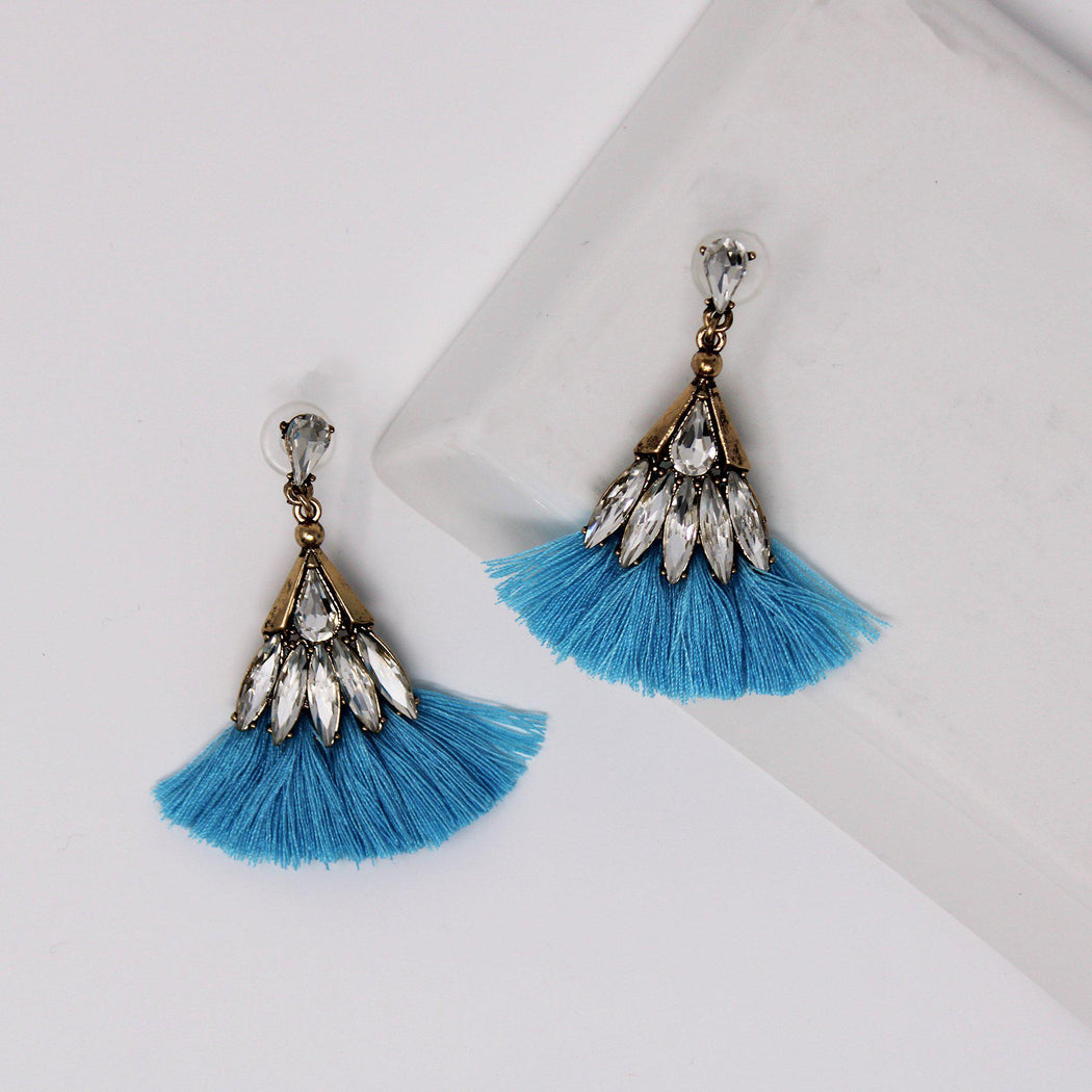 Cozumel Crystal Tassel Earrings-earrings, jewelry, sale-Belle and Broome