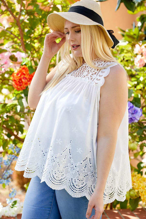 Daisy Cotton Eyelet Lace Tank side view on model outside in garden